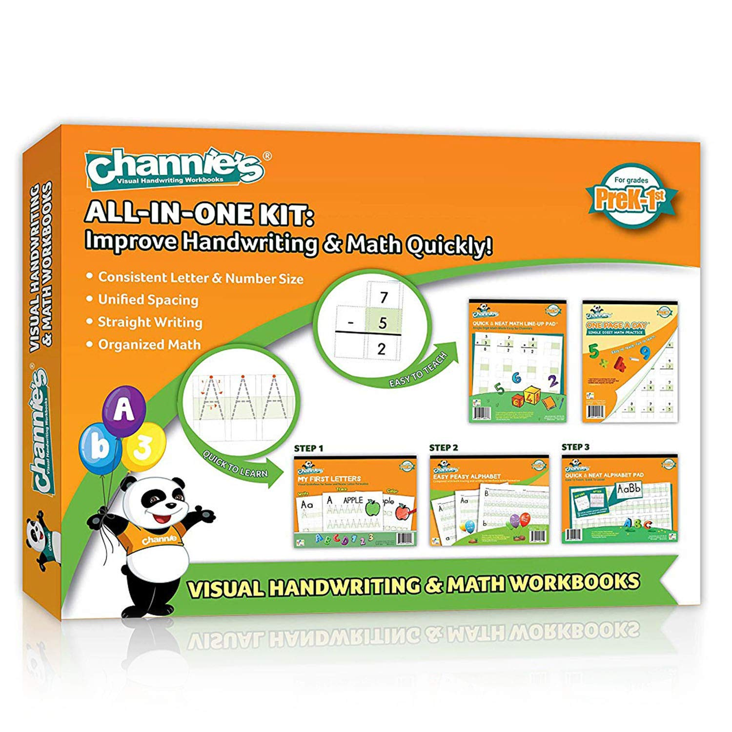 Back to school complete set 5 Pack Channie's Visual Handwriting & Math Workbook for PreK-1st by Channie's
