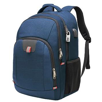 Mochila Antirrobo Impermeable, Mochila Portátil Hombre 17.3 Pulgadas Puerto USB Impermeable Trabajo Ordenador Viaje Negocio Multifuncional Daypacks Azul: ...