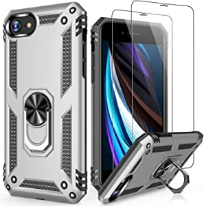 LUMARKE iPhone 8 Plus Case,iPhone 7 Plus Case with Sreen Protector,Pass 16ft Drop Test Military Grade Cover Cover with Kickstand Protective Phone Case for iPhone 8 Plus/7 Plus/6 Plus Silver