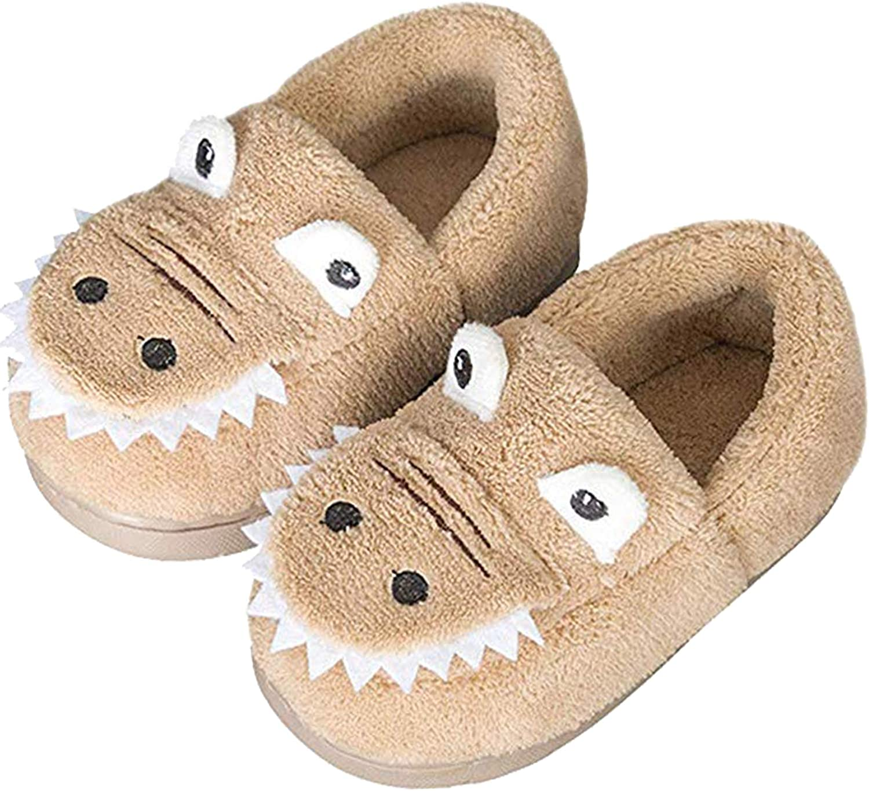 JACKSHIBO Girls Boys Home Slippers Warm Dinosaur House Slippers for Toddler Fur Lined Winter Indoor Shoes