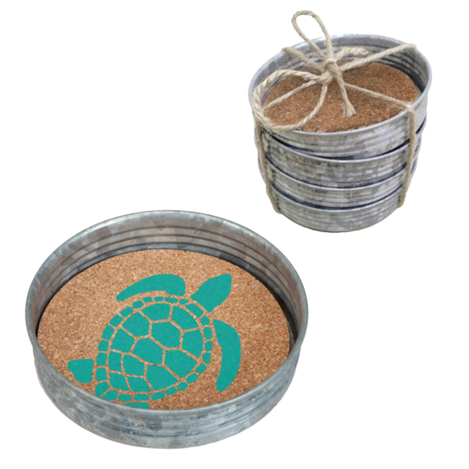 Occasionally Made 4''x4''x1'' Sea Turtle Mason Jar Lid Coaster Stack