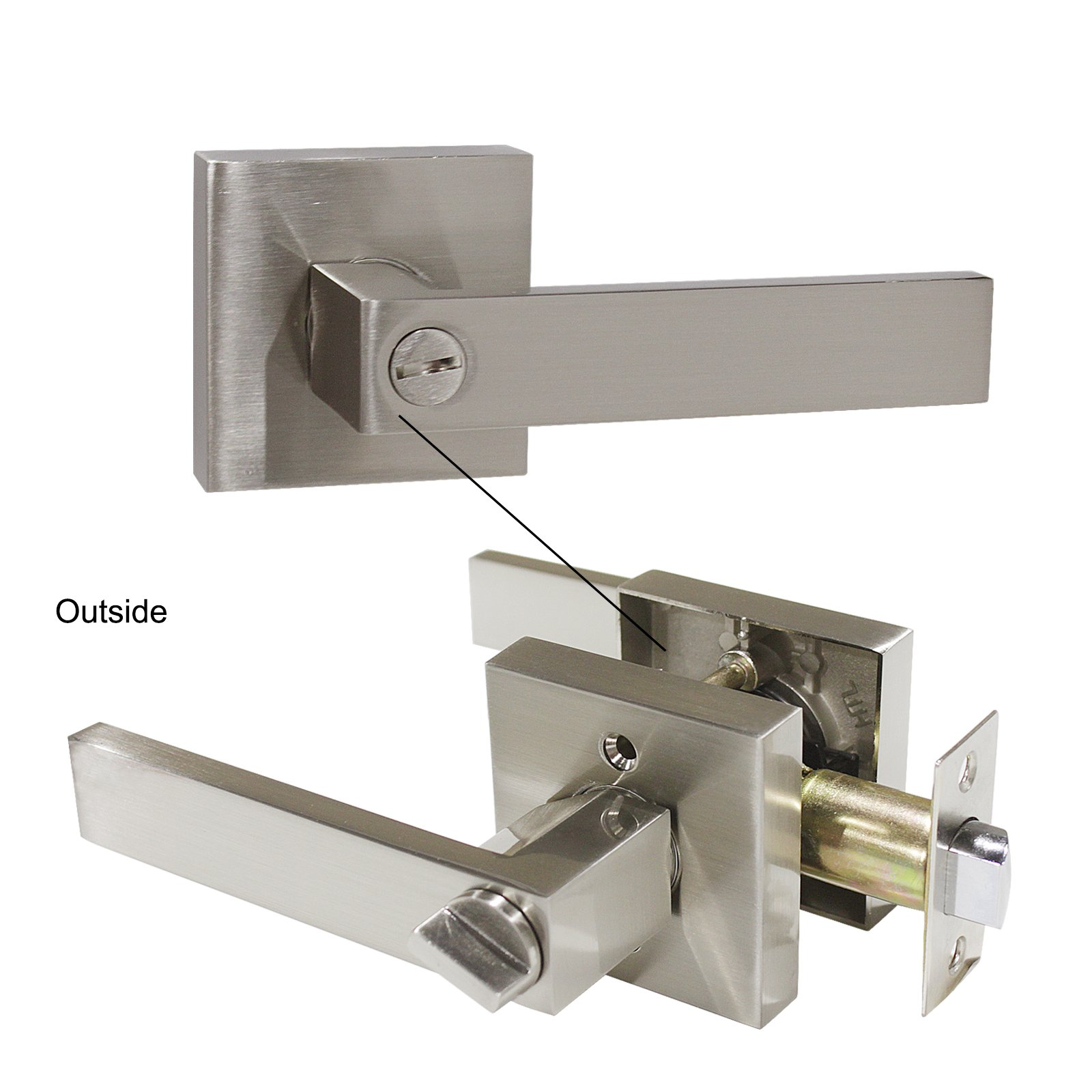 Gobrico Bedroom Bathroom Door Handle Lever with Square Plate Interior Privacy Door Lock in Satin Nickel 10Pack by Gobrico (Image #7)