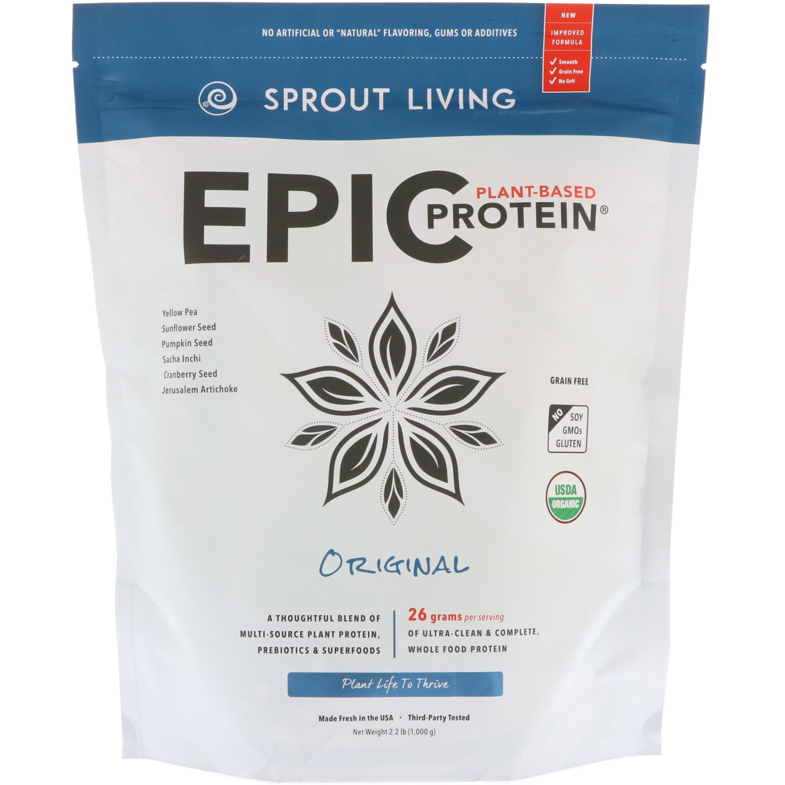 Sprout Living Epic Protein Powder, Original Flavor, Organic Plant Protein, No Additives, Gluten Free, 26 Grams Clean Vegan Protein (2.2 pounds, 29 Servings)