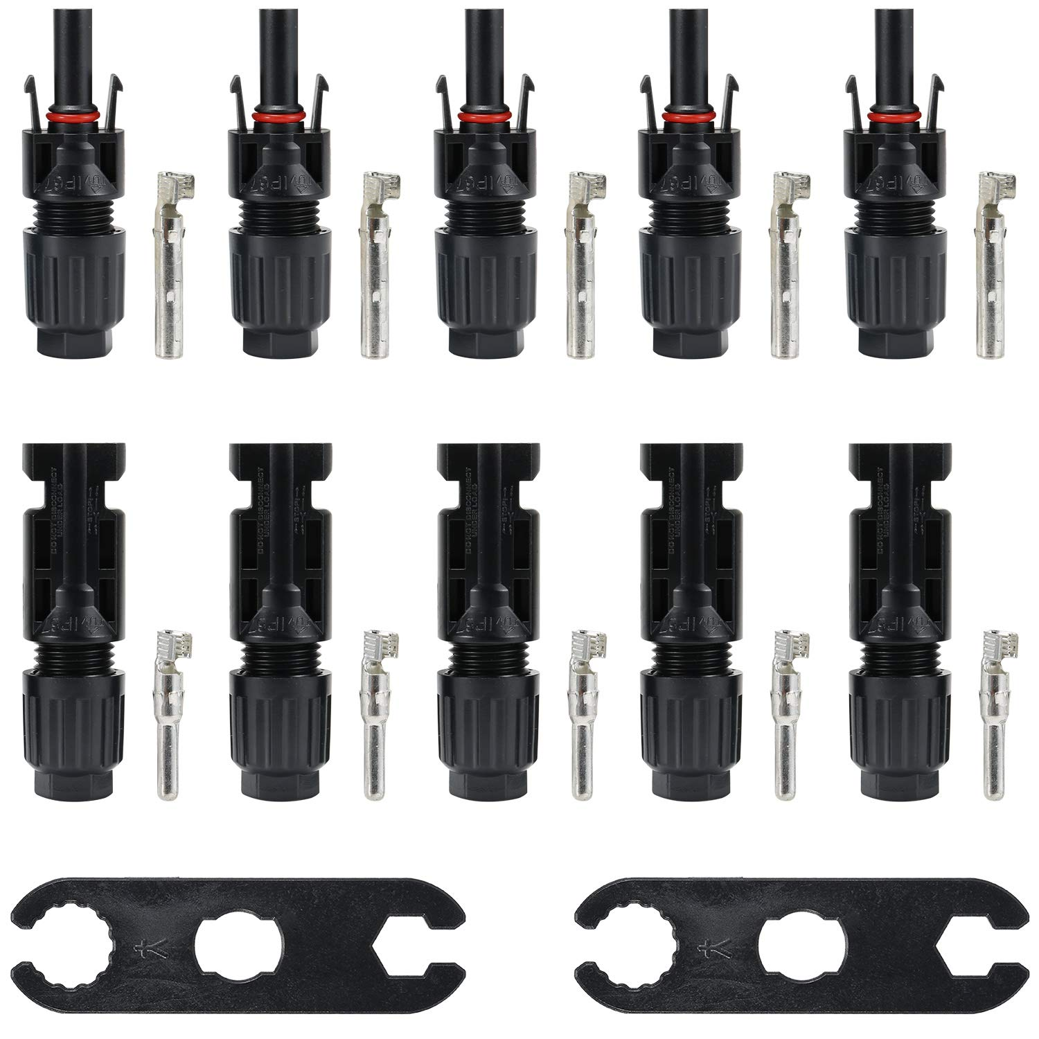 AOOHOOA MC4 Male//Female Solar Panel Cable Connectors Double Seal Rings for Better Waterproof Effect 5 Pair and 2 MC4 Tool. 5 MC4