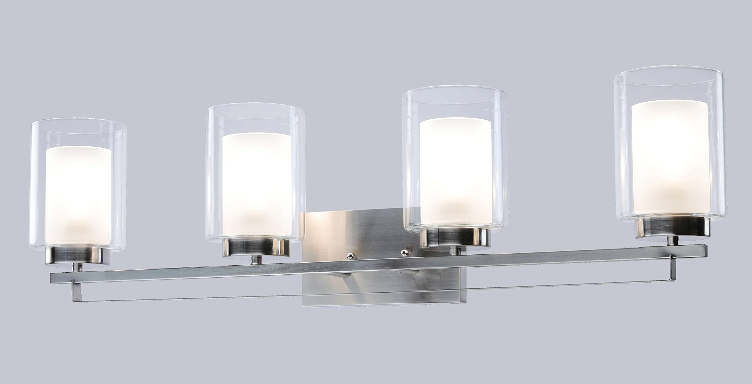 Wall Light 4 Light Bathroom Vanity Lighting with Dual Glass Shade in Brushed Nickel Indoor Modern Wall Mount Light for Bathroom & Kitchen XiNBEi-Lighting XB-W1195-4-BN by XiNBEi Lighting (Image #5)