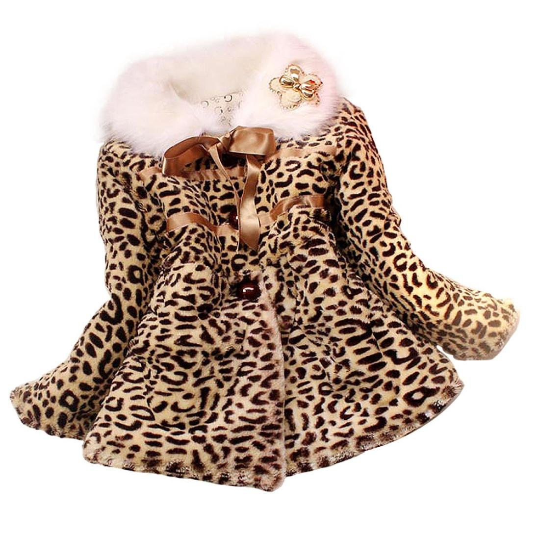 Internet Girls Princess Faux Fur Leopard Coat Girls Warm Jacket Snowsuit Clothing for 2-5 Years