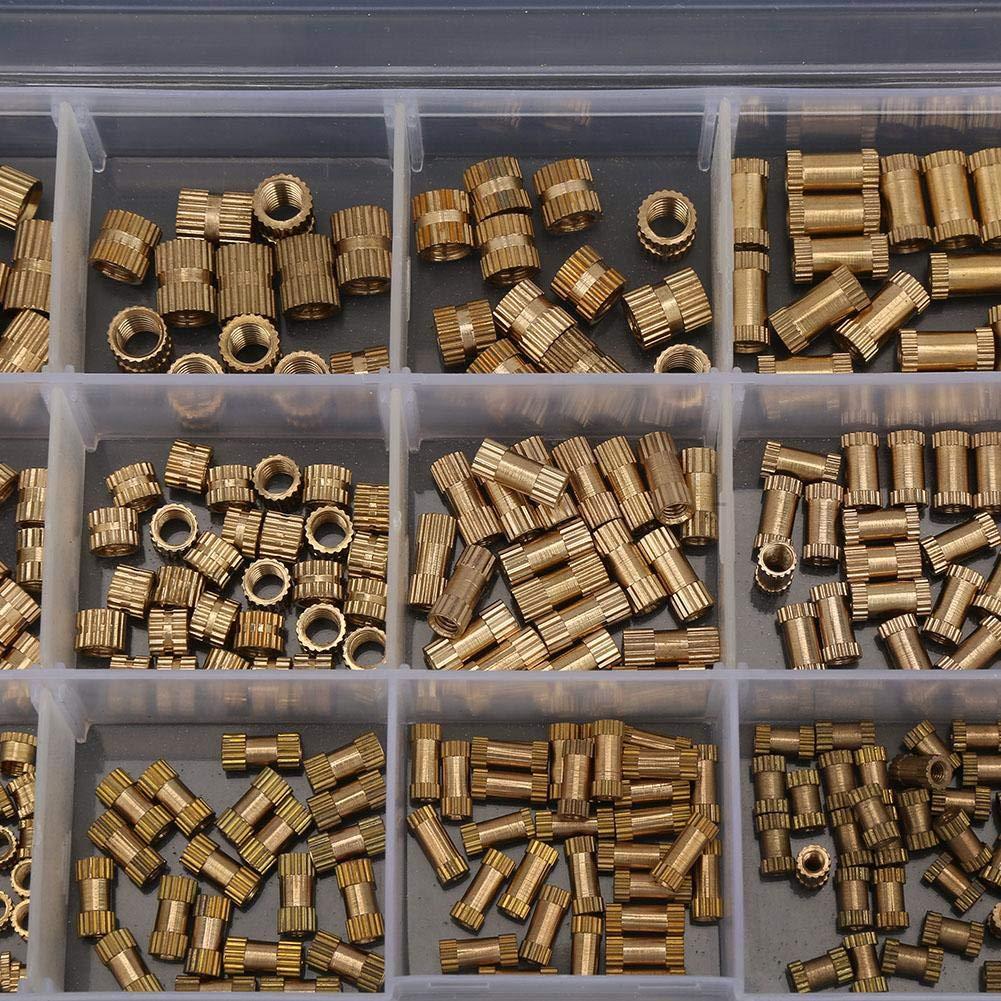 M3 M4 M5 Tuercas De Inserci/ón Insertadas Roscadas Con Caja De P 330 Piezas Kit De Tuercas De Inserci/ón Moleteadas Con Rosca De Lat/ón Resistente Al Desgaste Redondo M2 BiuZi Tuercas Moleteadas