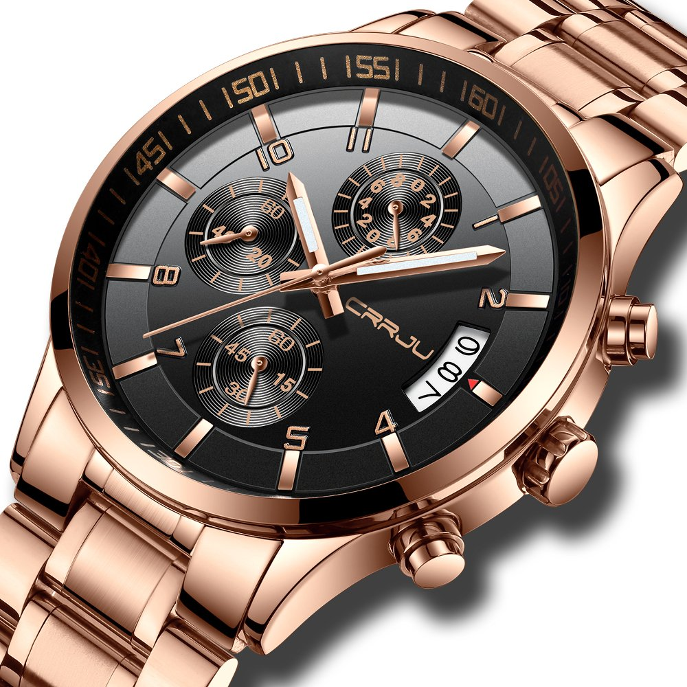 CRRJU Big Face Sports Chronograph Watch for Men, Waterproof Military WristWatches in Rose Gold Steel Band by CRRJU