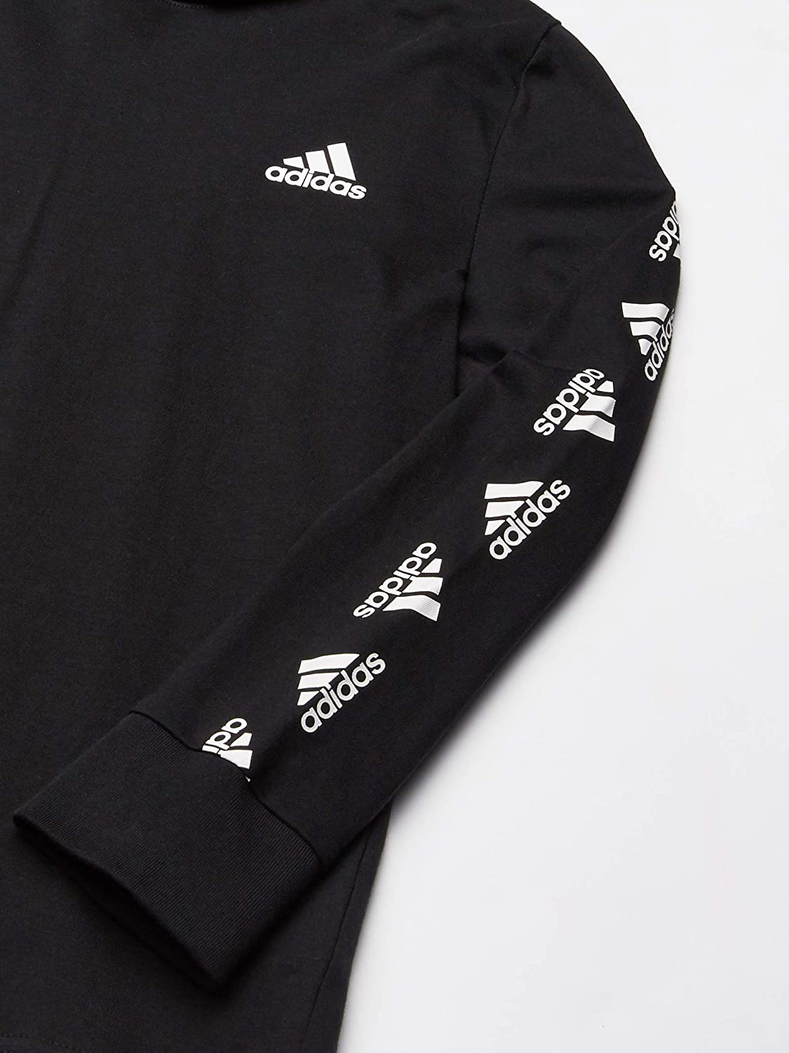 adidas Boys Long Sleeve Cotton Jersey Hooded T-Shirt Tee