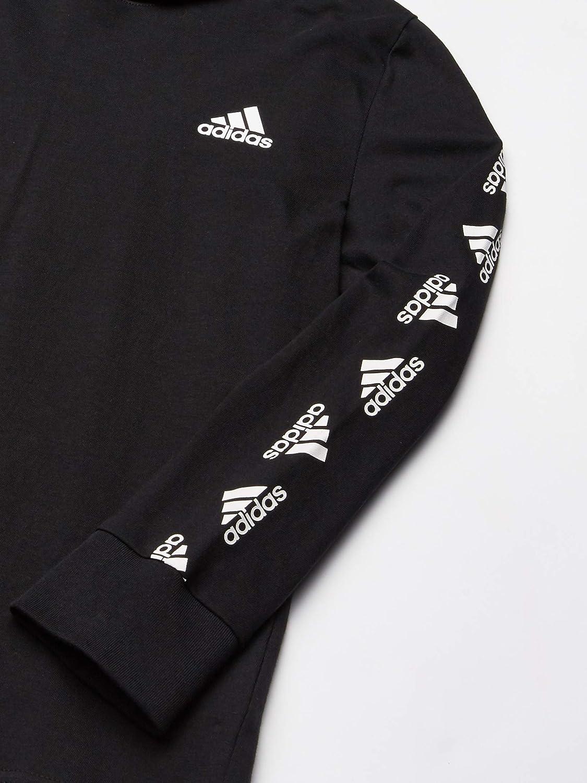 adidas Boys Long Sleeve Cotton Jersey Hooded T-Shirt Tee