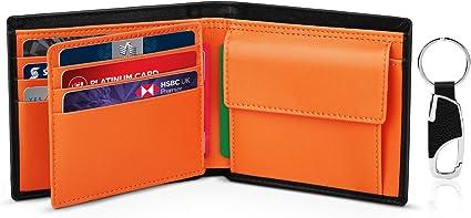 Portafogli Piccolo Sottile Confezione Regalo-nero /& arancione 2 Scomparti Banconote con Tasca Portamonete Portafoglio Uomo Slim Bifold Vera Pelle Blocco RFID Portachiavi 10 Porta Carte di Credito