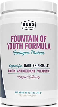 BUBS Naturals Fountain of Youth Women's Collagen Protein Powder Formula, Keto Friendly, Skin, Hair & Nail Support, Paleo Friendly, Whole 30, Non GMO, Dairy & Gluten Free, Maqui Berry Flavor, 10.16 Oz