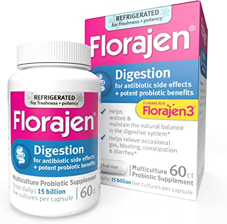Florajen3 Digestion High Potency Refrigerated Probiotics | Restores Balance in Digestive System | for Antibiotic Side Effects | 60 Capsules