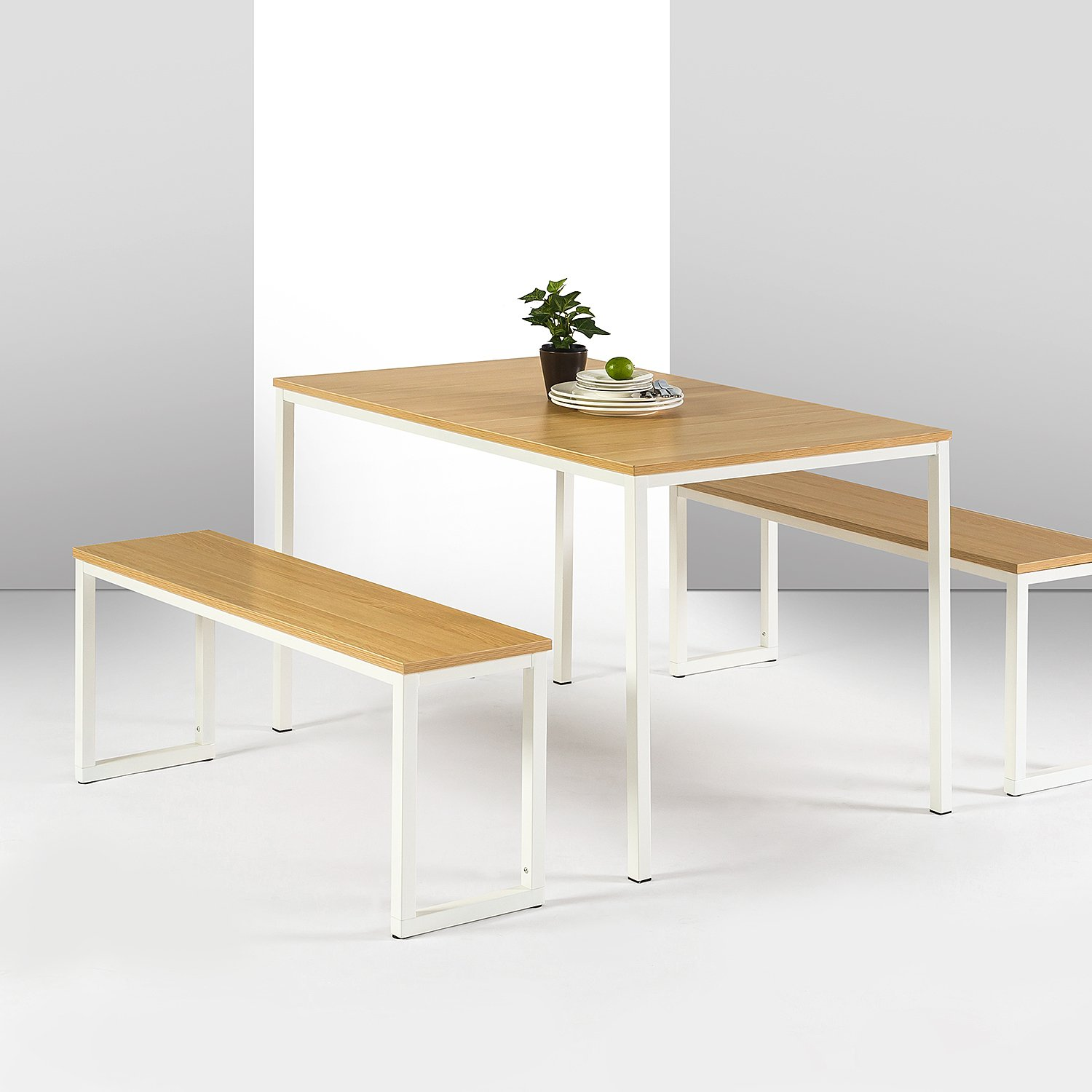 Zinus Louis Modern Studio Collection Soho Dining Table with Two Benches / 3 piece set, White by Zinus