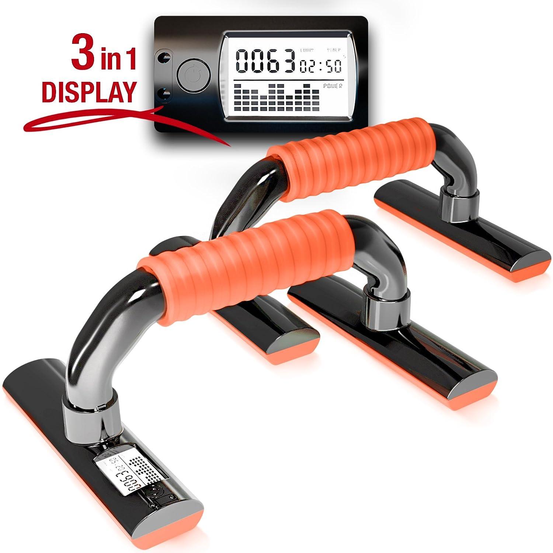 Las manijas innovadoras push-up de Sportstech PBX300 con contador, indicador de potencia y tiempo - mangos gruesos y suaves de silicona antideslizante. Para barras Push-Up Stand Bars y Dips suaves. (Azul)