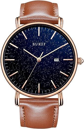 BUREI Gypsophila Ultra Thin Reloj para Hombre Cuarzo Minimalista con indicador de Fecha Use una Correa con Cuero: Amazon.es: Relojes