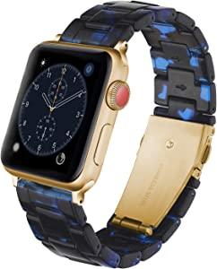 Caunedy Compatible with Apple Watch Band 42mm/44mm-Light and Waterproof Fashion Replacement Resin Band with Stainless Steel Buckle for Series iWatch 6/5/4/3/2/1/SE (Blue Black, 42/44mm)