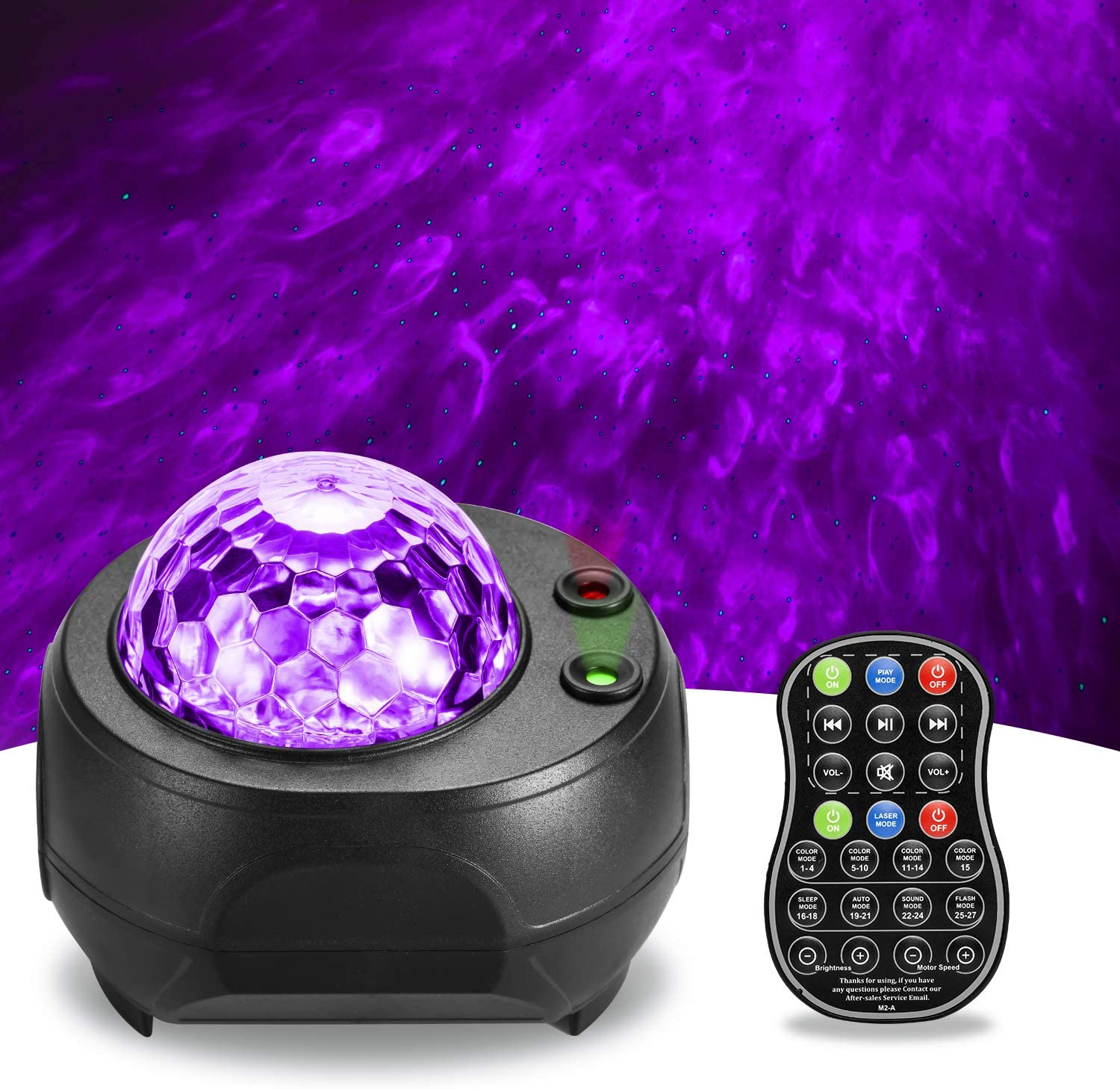Galaxy Projector BSYUN 2nd Version 3 in 1 Sound Activated Night Lights Projector with Remote Control for Bedroom Room Ceiling Décor Gift for Kids Adults (Black)