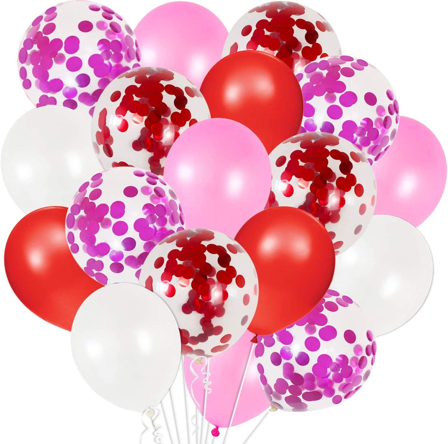 Red White Pink Balloons Set - Pack of 50 | Red Confetti Balloons , Red and White Balloons | Valentines Day Decorations | Valentines Day Balloons Party Decor | Pink, Red and White Balloon Garland Kit