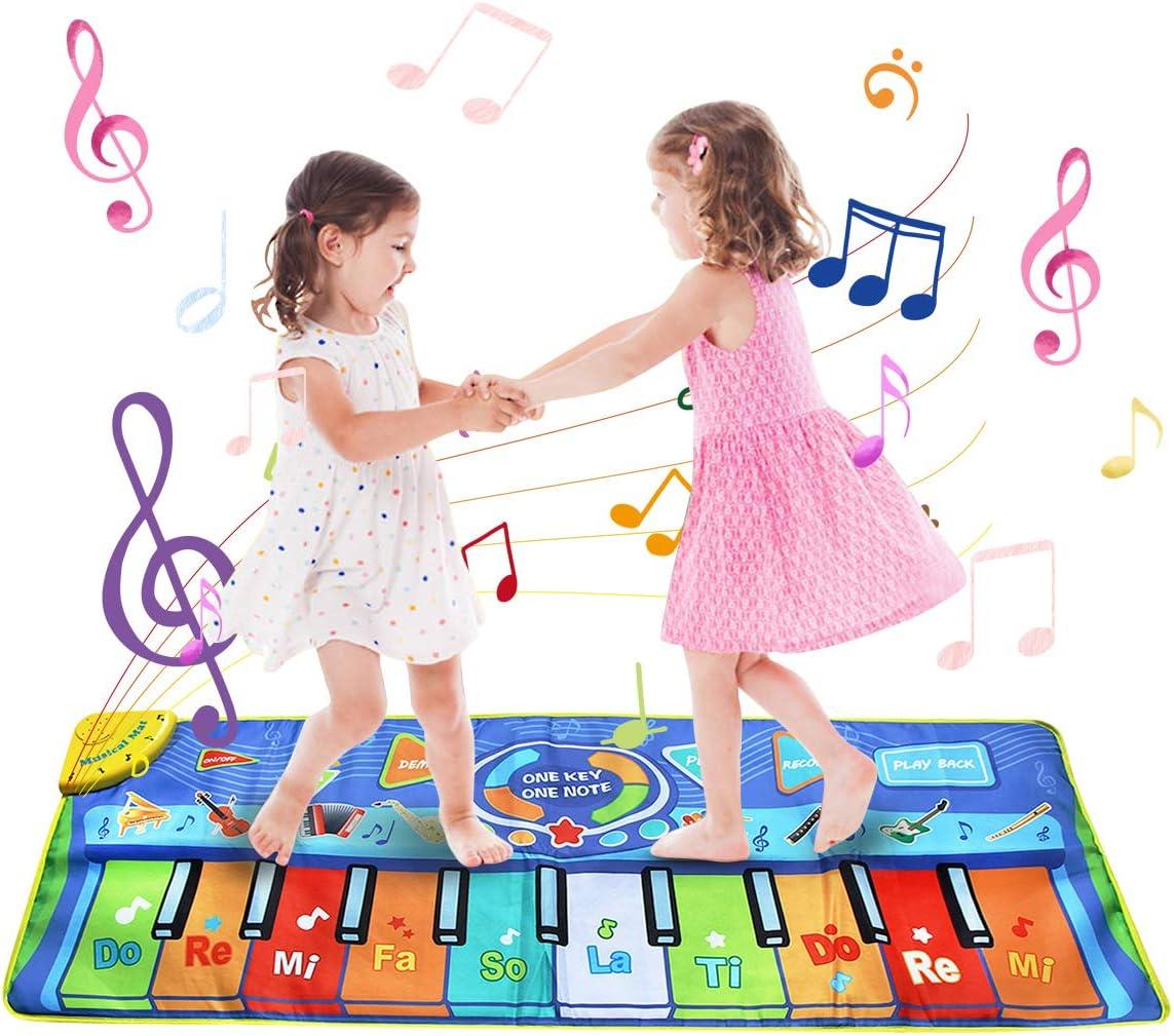 BelleStyle Alfombra de Piano, 130 * 48 cm Grande Alfombra Musical para Niños, Tapete Musical Toque Jugar Teclado de Piano Manta Musical Educativo Juguete para Bebé Niños Pequeños - Azul