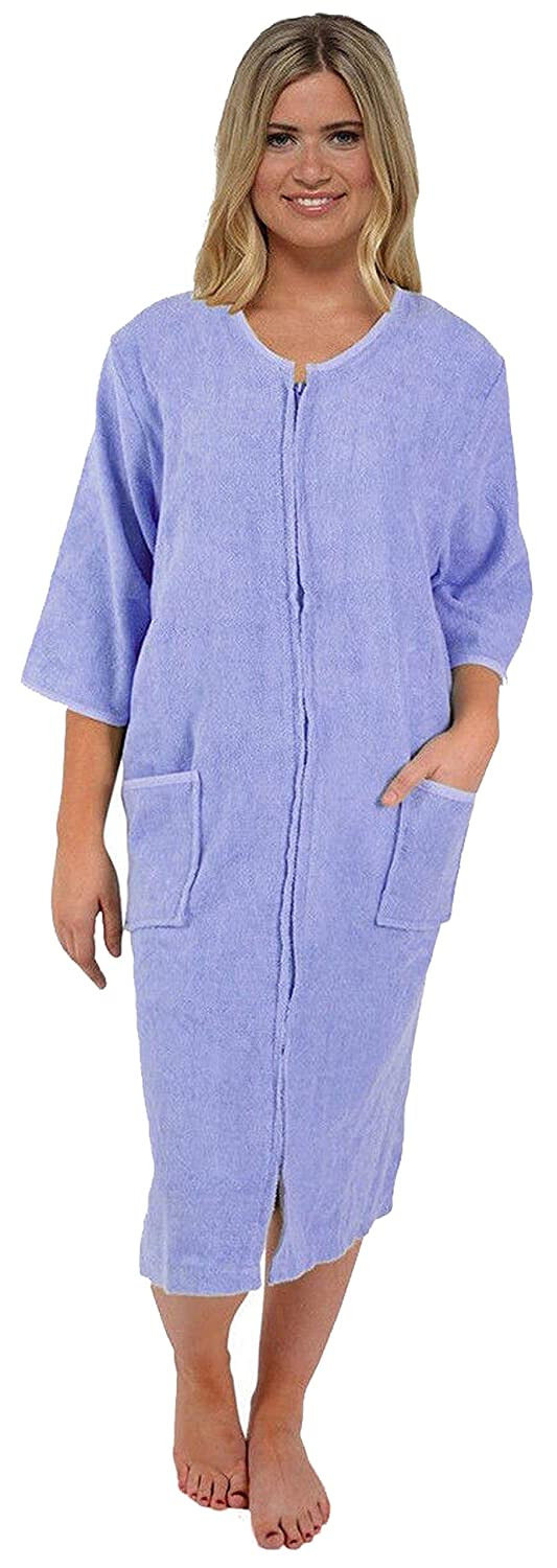 INSIGNIA Womens Ladies 100% Pure Cotton Zip Through Towelling Dressing Gown Robe 728minsignia