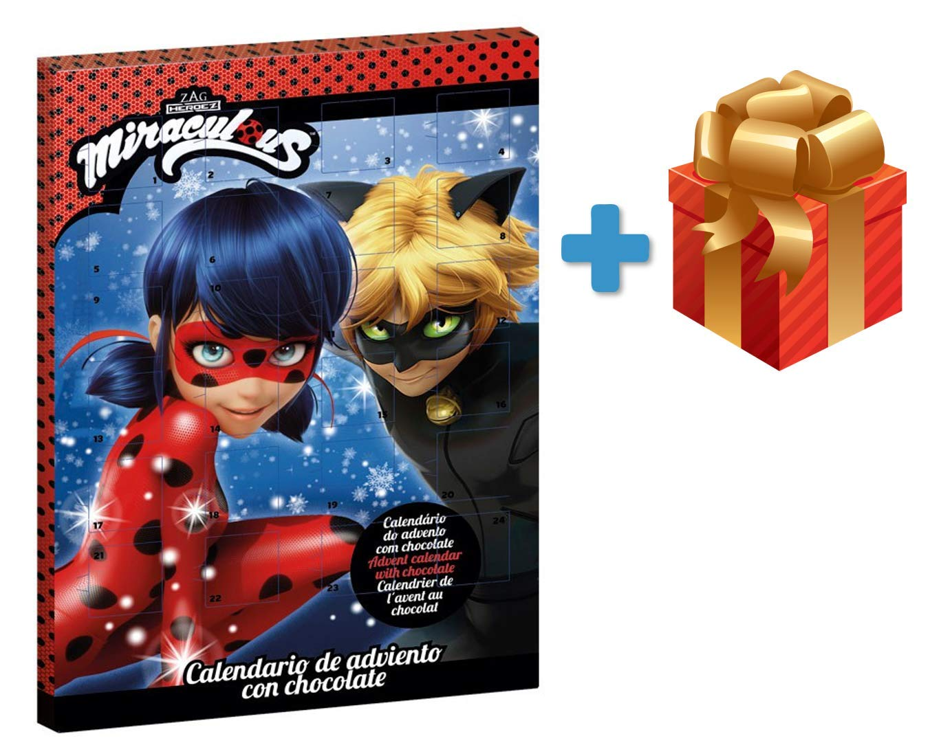 Miraculous: Tales of Ladybug & Cat Noir Milk Chocolate Advent Calendar 2018 + Surprise Gift (Order Before November 23TH for Express DELIVERY) ZAG