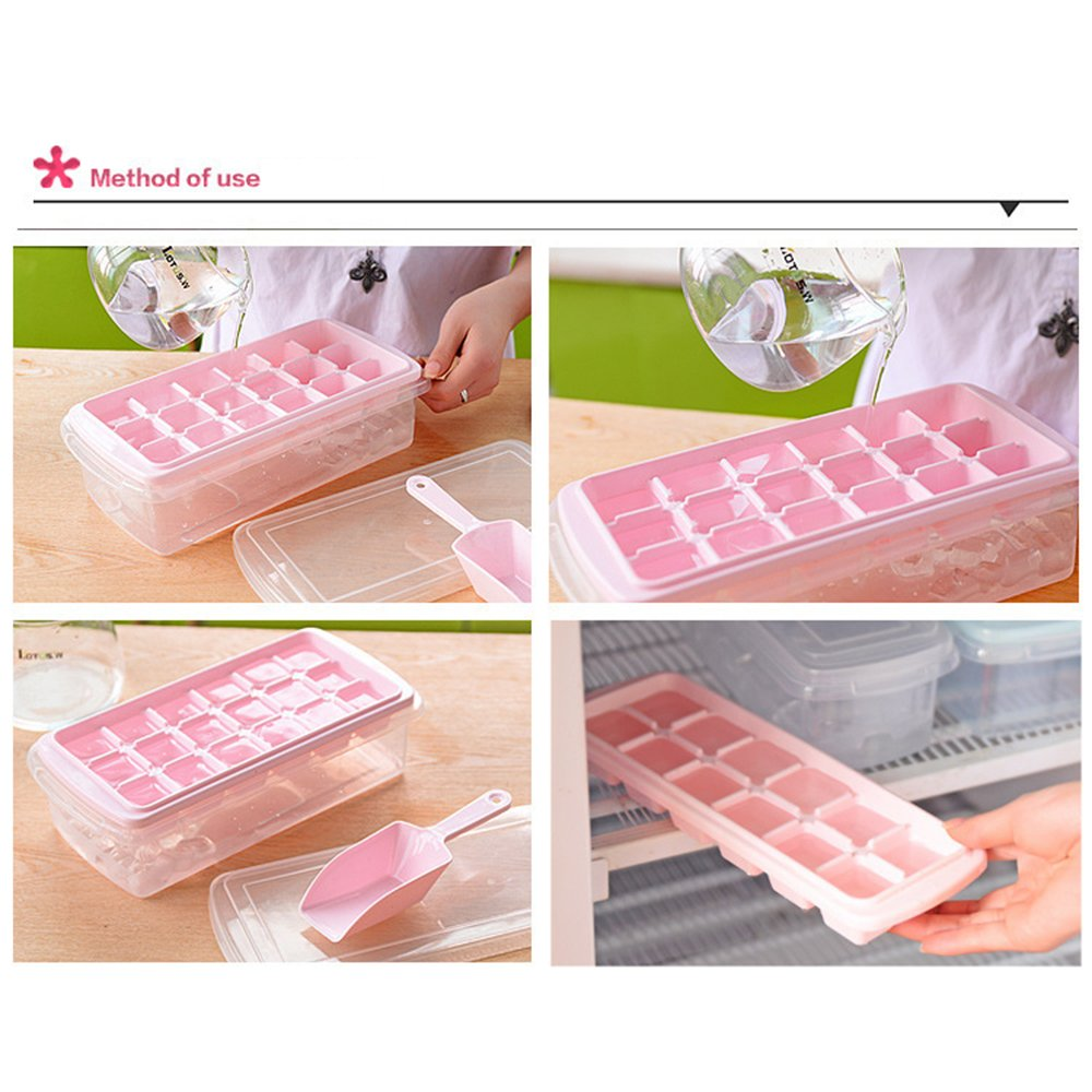 Ice Cube Mold Box VertHome Ice Cube Tray with Removable Cover /& Ice Scoop