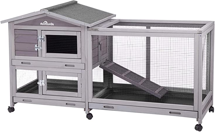 Aivituvin Rabbit Hutch Indoor And Outdoor 62 Bunny Cage On Wheels With 3 Deep No Leakage Pull Out Tray Waterproof Roof Grey Kitchen Dining Amazon Com