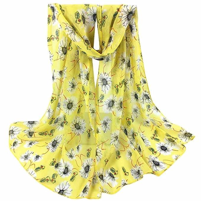 Siswong Pañuelos Gasa Estampados Grandes Señora Colores Elegantes Bufandas Finas Estolas Cómodos Fiesta Bodas Vintage Primavera
