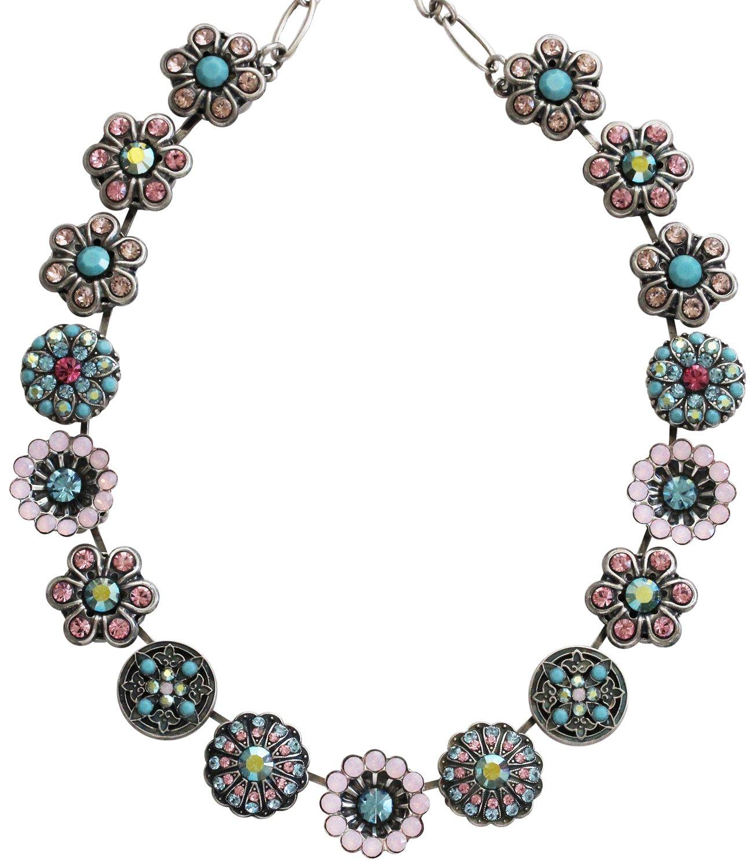 Mariana Silvertone Statement Flowers Crystal Necklace, ''Summer Fun'' Multi 3138 3711