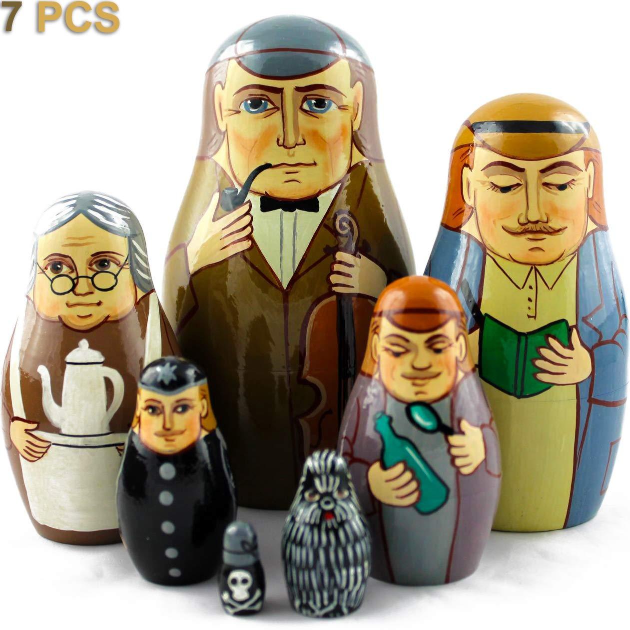 Matryoshka Russian Nesting Dolls On The Motives Stories of Sherlock Holmes 7 pcs Wooden Figurines by MATRYOSHKA&HANDICRAFT