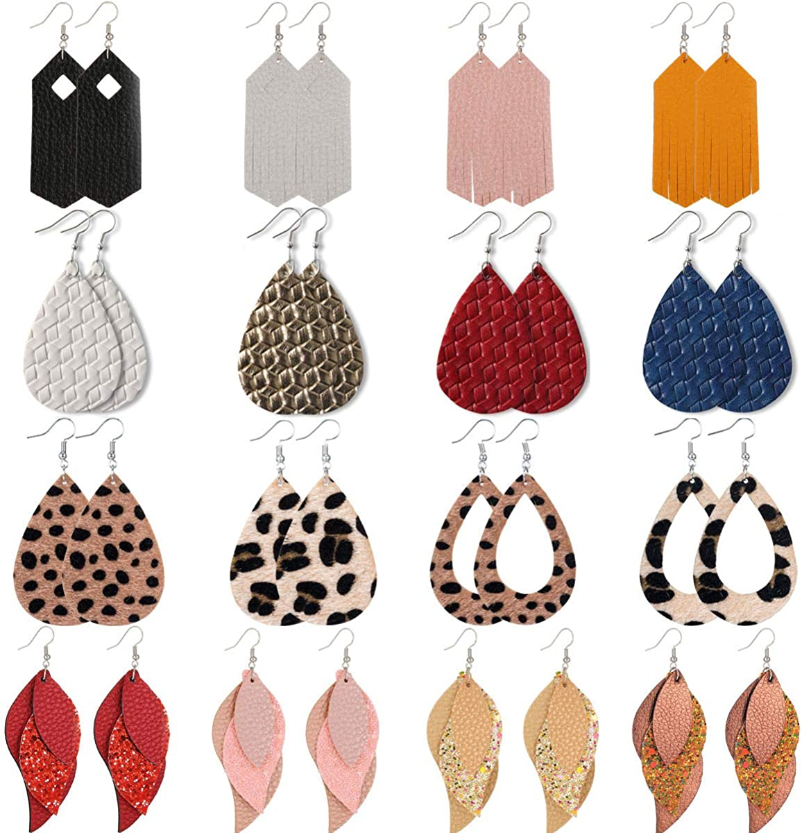 XIJIN 16 Pairs Leather Earrings for Women Lightweight Layered Leather Leaf Earrings Teardrop Dangle Leopard Earrings Set