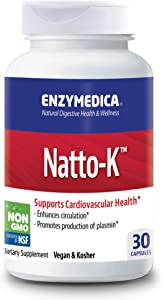 Enzymedica, Natto-K, Enzyme Supplement to Support Cardiovascular Health, Vegan, Kosher, 30 Capsules (30 Servings)