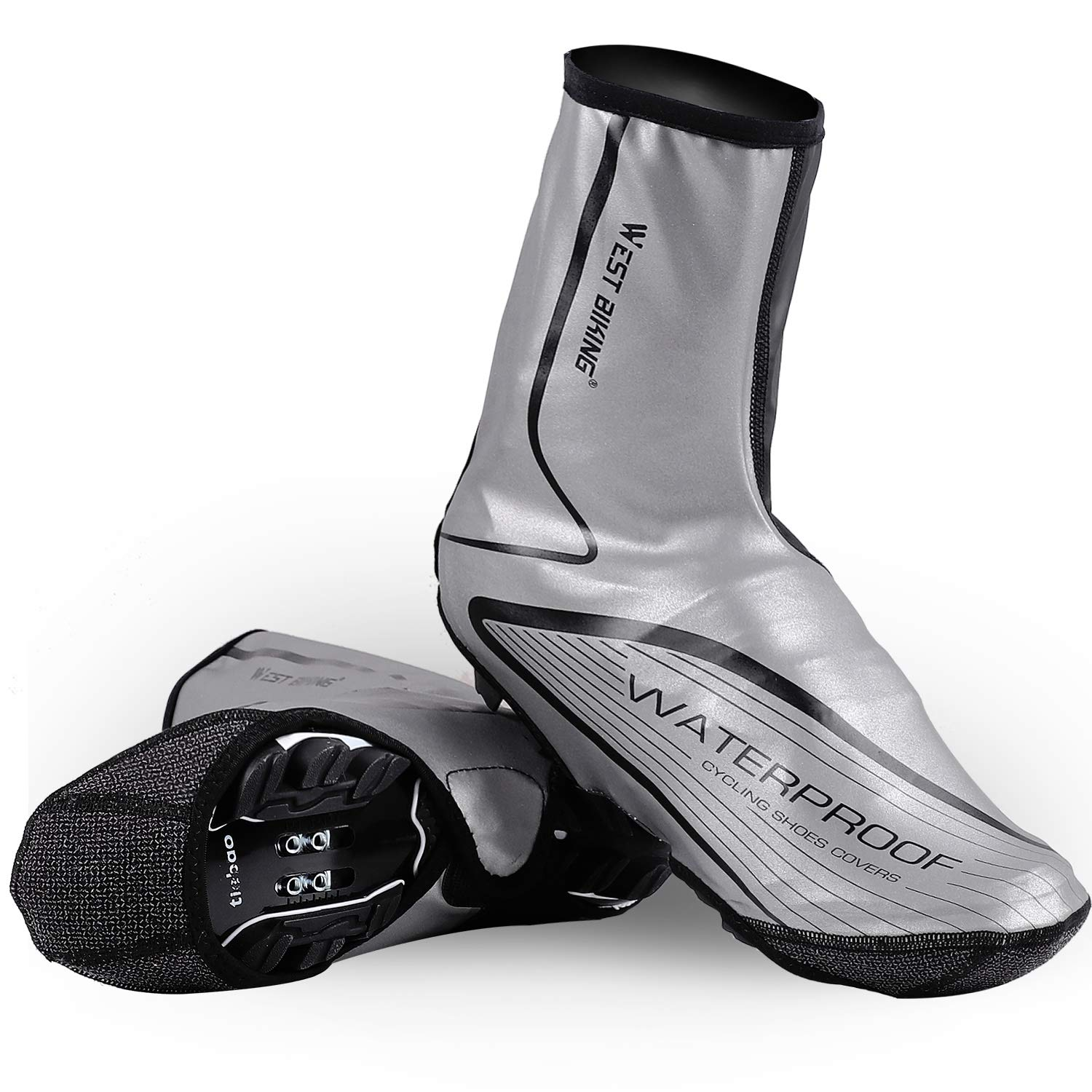 ICOCOPRO Cycling Shoes Cover Overshoes,Waterproof Reflective Thermal Winter Protector Bike Overshoes Rain Snow Boot Protector Feet Gaiters