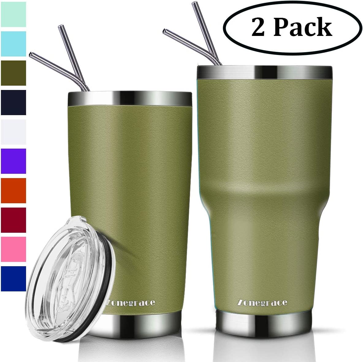 Zonegrace 2 Pack Olive Green 20 oz and 30 oz Classic Tumbler with Straw Lid Travel Mug Gift Vacuum Insulated Coffee Beer Pint Cup 18/8 Stainless Steel Water Bottle