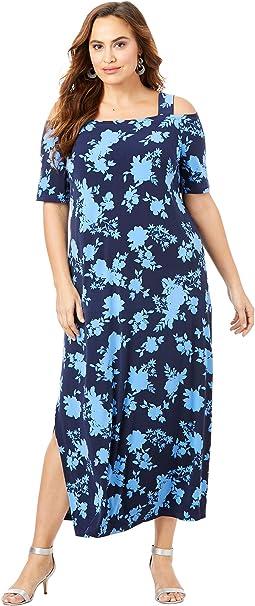 Roamans Women\'s Plus Size Cold-Shoulder Maxi Dress