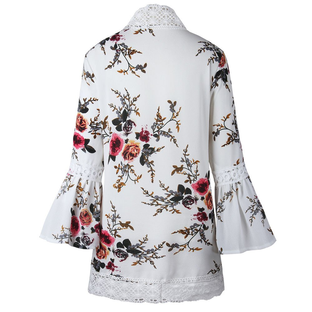iHENGH Women Kimono Jacket Cardigan Lace Floral Open Cape Casual Coat Loose BloUKe