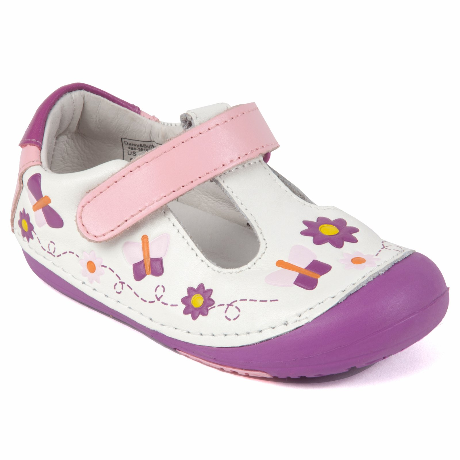 Momo Baby Girls First Walker/Toddler Daisy & Butterfly Leather Shoes - 6.5 M US Toddler
