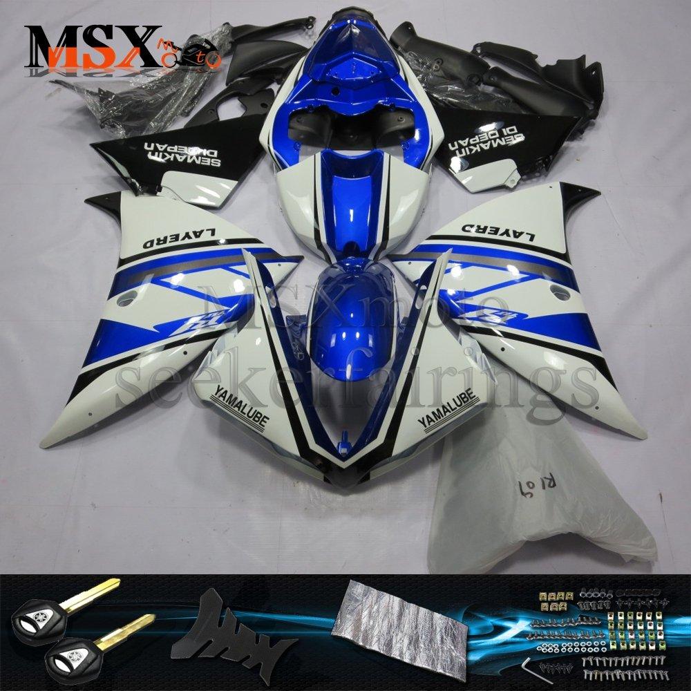 MSX-moto 適応ヤマハ Yamaha YZF1000 YZF 1000 12-14 R1 2012 2013 2014年 外装パーツセット ABS射出成型完全なオートバイ車体 青/ブルー&白/ホワイトのボディ   B07DSYQW46