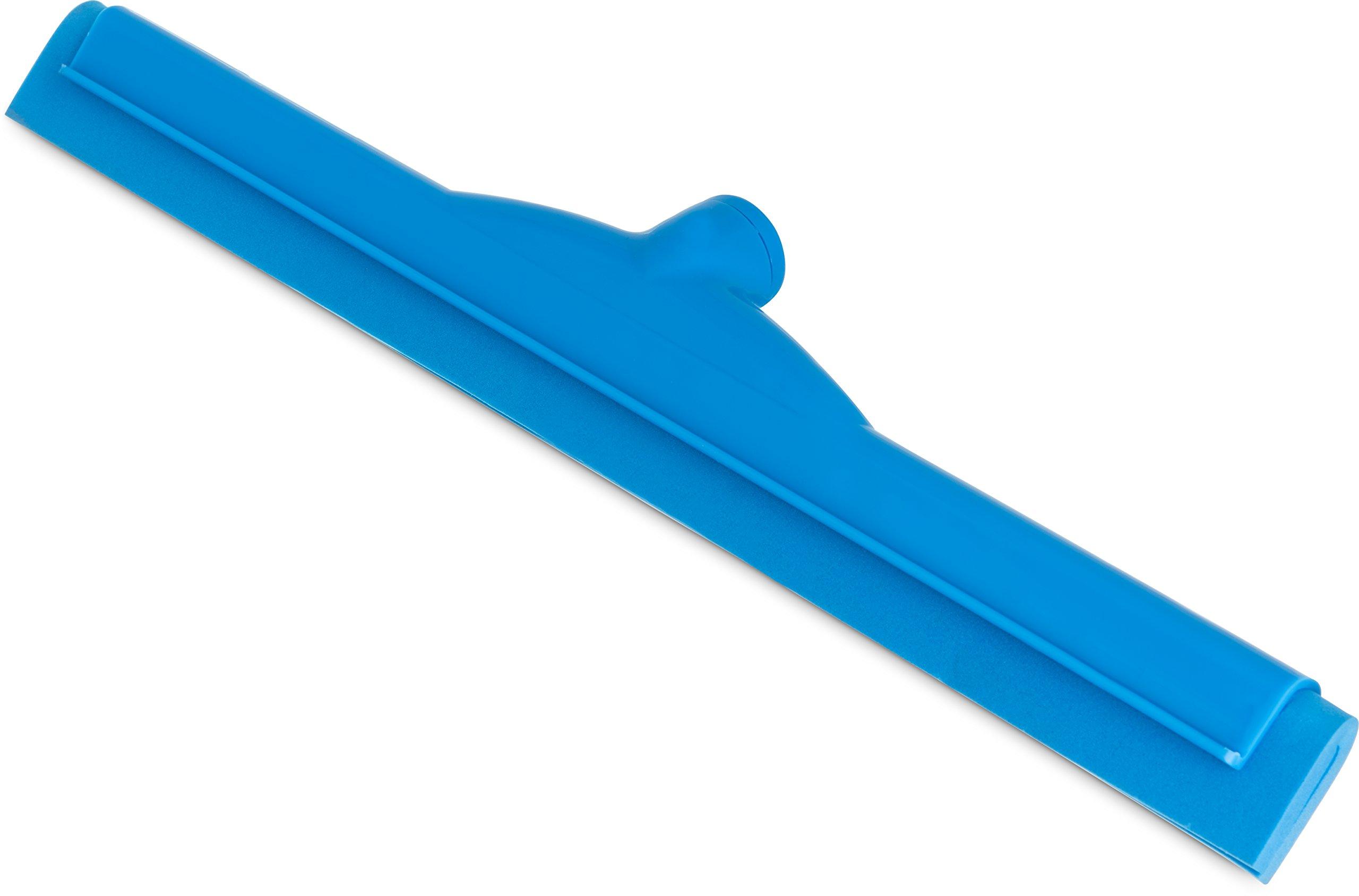 Carlisle 4156714 Spectrum Plastic Double Foam Rubber Hygienic Floor Squeegee, 18'' Width, Blue (Case of 6)