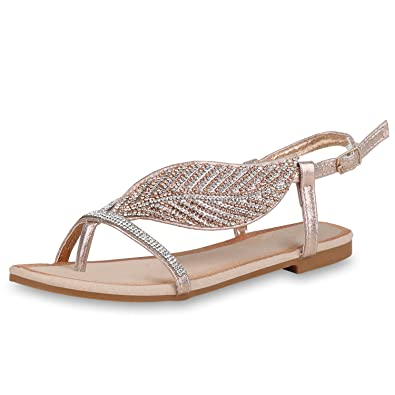 69ce2b36792b70 SCARPE VITA Damen Sandalen Zehentrenner Metallic Zehenspreizer Sommer Schuhe  162259 Rose Gold 40