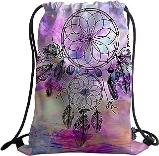 Violetpos Unisex Backpack Sports Bag Gym Bag Fashion Custom Beautiful Round Dream Catcher Feathers Watercolour Mandala