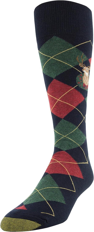 Gold Toe Men's Printed Novelty Graphic Fashion Dress Crew Socks, 1 Pair, Deer Argyle, Shoe Size: 6-12.5