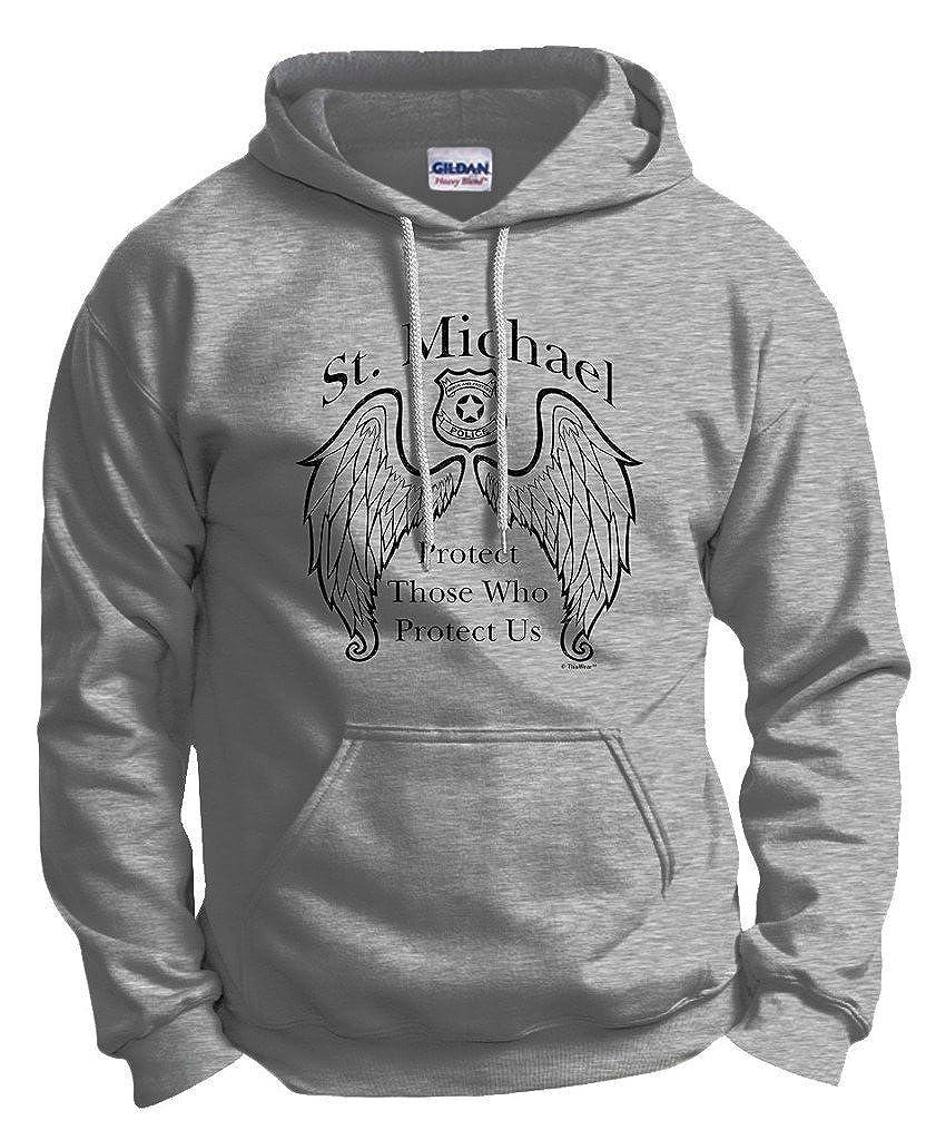 cc8f4e169 Amazon.com  ThisWear Police Officer Gift St. Michael Patron Saint Shield Hoodie  Sweatshirt  Clothing