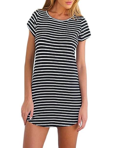 Vestido de Mujer, Lananas 2018 Mujer Verano O-Cuello Manga Corta Patrón de Rayas Camiseta Ajustado Mini Corto Negro Vestir Mini Dress: Amazon.es: Ropa y ...
