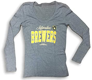 new product fd615 f931a Amazon.com : Campus Lifestyle Milwaukee Brewers Scoop Neck ...