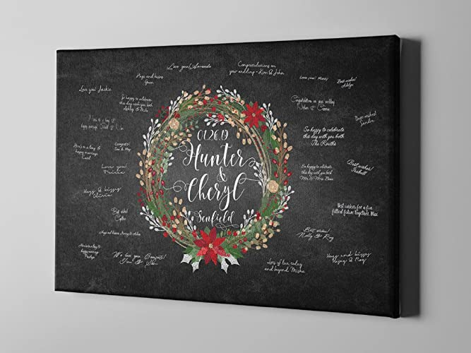 Amazon.com: SALE 50% Off Winter Canvas Guest Book, Silver Wreath ...