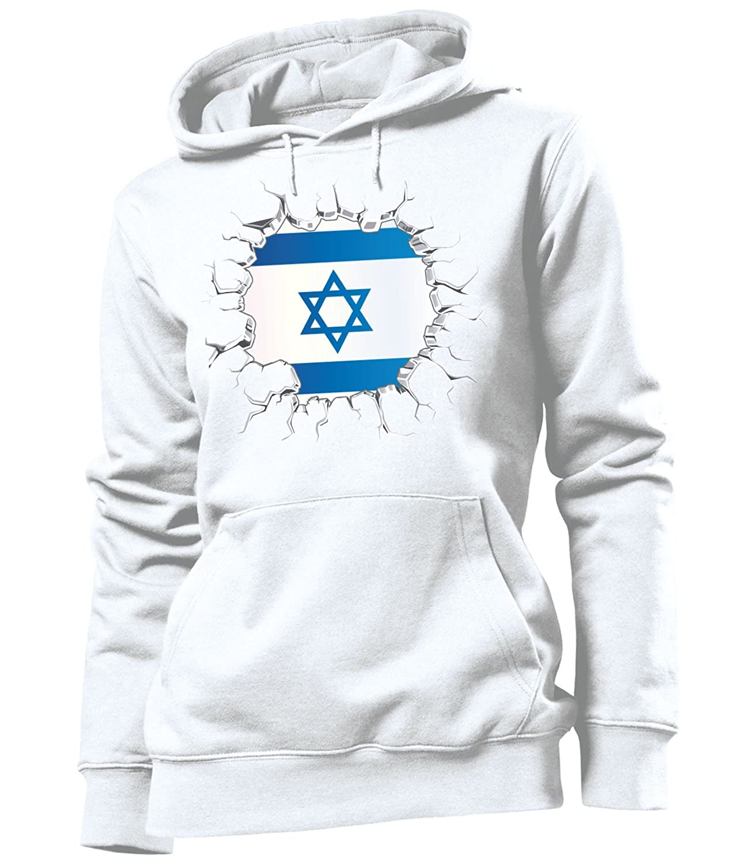 love-all-my-shirts Fussball Israel Fanhoodie Frauen Damen Hoodie Pulli Kapuzen Pullover Fanartikel Kapuzenpullover