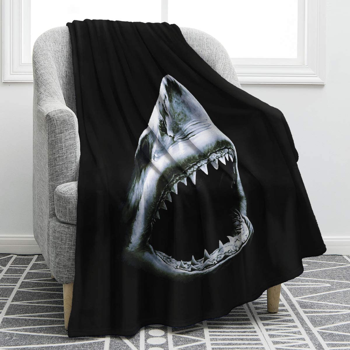 "Jekeno Shark Blanket Print Cozy Ligtweight Durable Bed Couch Blanket Black Plush Microfiber 50""x60"""