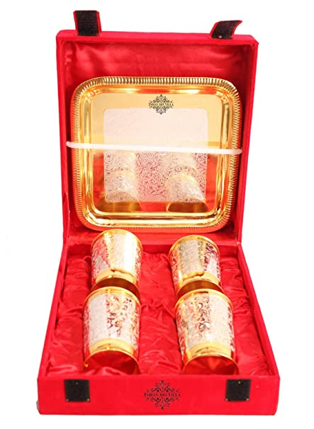 IndianArtVilla Juego de 4 copas de plata chapado en oro ...